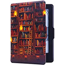 Huasiru Painting Case for Kindle 8th Generation 2016 (Dimensions 6.3 x 4.5 x 0.36 Inches) ONLY - Cover with Auto Wake/Sleep, Library