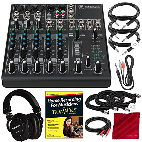 Mackie 802VLZ4, 8-channel Ultra Compact Mixer with Onyx Preamps and Premium Accessory Bundle w/ Mixing Headphones + Home Recording Guide + 8X Cables + Fibertique Cloth