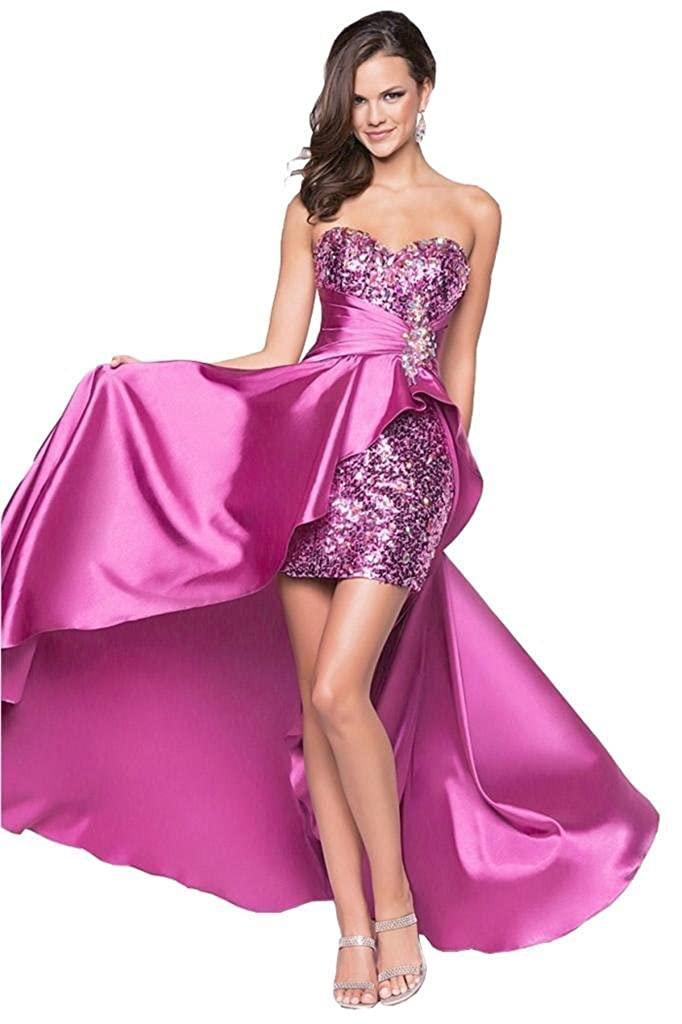 Purple Eyekepper Ladies Beaded Front Short Long Back Prom Evening Gown Party Dress