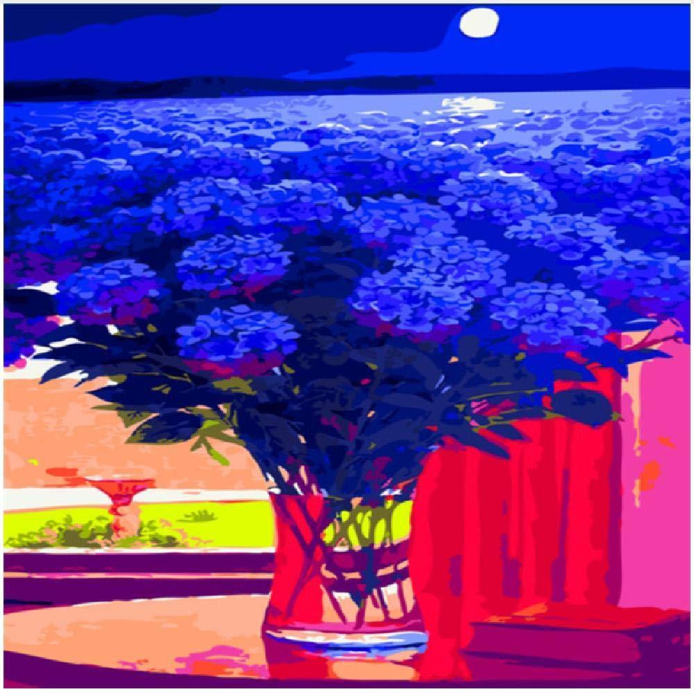 100x180cm  jjyyh Peintures par Numéros Fleur Violette Bleue 120X160Cm Bricolage Peinture à l'huile Linen Toile pour Adultes Les Enfants Débutants des Gamins' Jouet Numéros Peinture par Décoration Murale