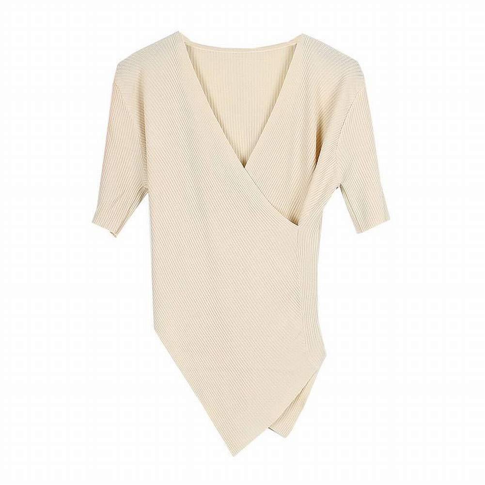 Katylen Cross-V-Ausschnitt Kurzarm-Pullover Frauen Dünnen Selbst Kultivierenden Unregelmäßigen Saum Base Shirt Top B07GVCQGSC Bekleidung Verrückter Preis