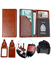Passport Holder with 2 Matching Luggage Tags and Strap Brown