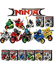 CHOUREN 8Pcs Ninjago Motorcycle Set Minifigures Ninja Mini Figures Building Blocks Toy