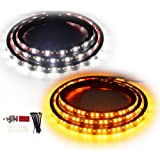 OPL5 2PCs Truck LED Running Board Lights Sequential Amber Side Marker Lights 70 Inch Emergency Extended Crew Cab 216 LEDs Wat