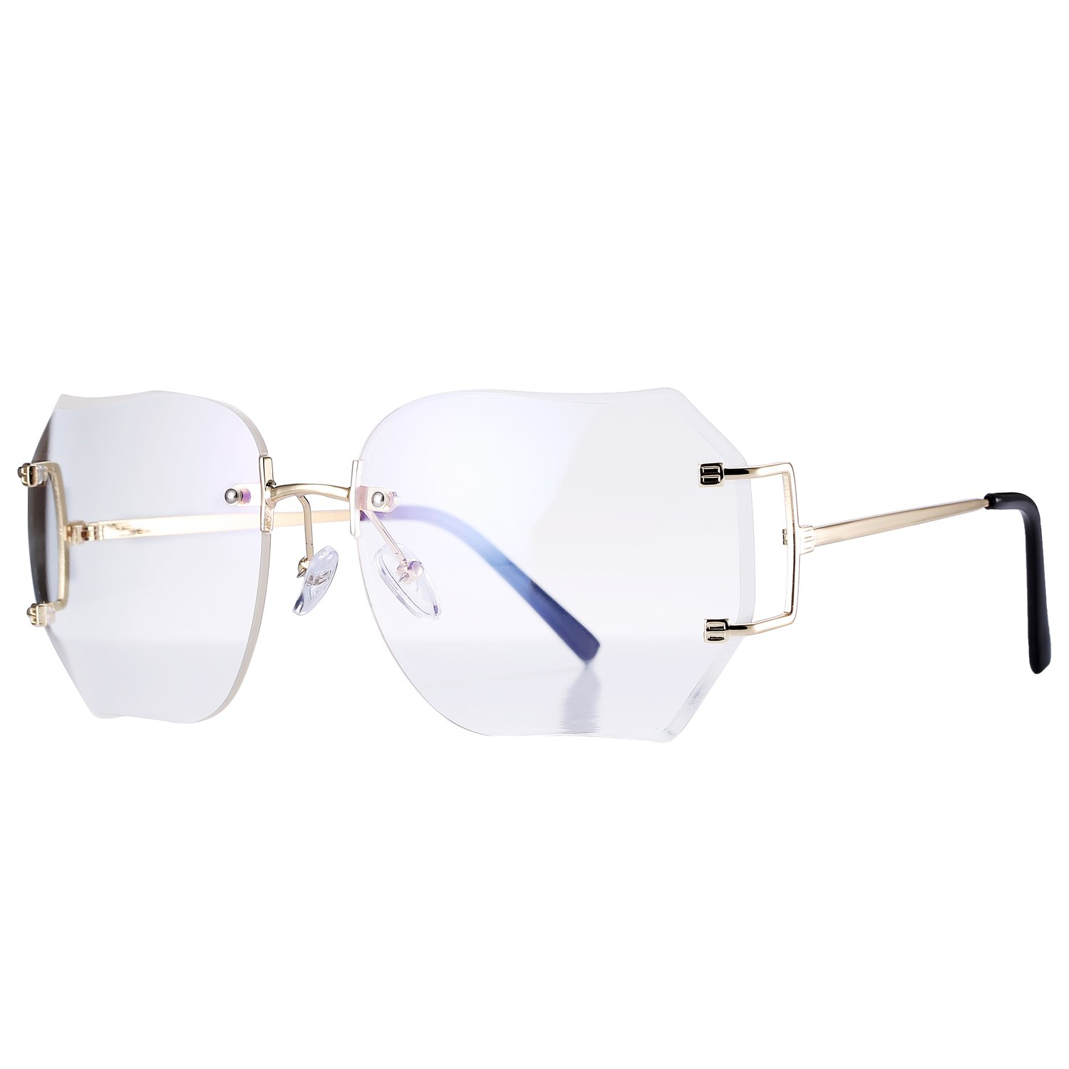 Pro Acme Fashion Oversized Rimless Sunglasses Women Clear Lens Available (Clear) by Pro Acme