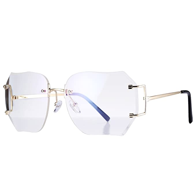 811d33add143 Pro Acme Fashion Oversized Rimless Sunglasses Women Clear Lens Available  (Clear)