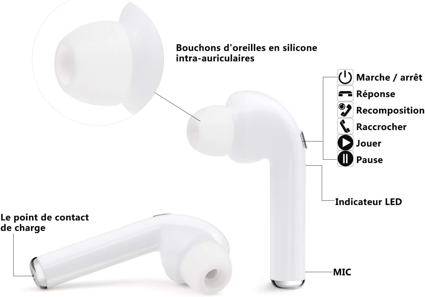 Wireless Earbuds,Wireless Headphones with Microphone Mini in-Ear Earphones Noise Cancelling Headsets with Portable Charging-EVZ-04