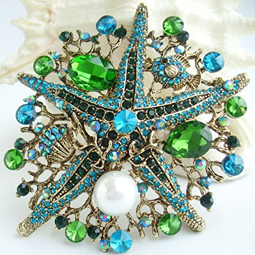 Sindary 3.15'' Starfish Brooch Pin Austrian Crystal Pendant BZ6412 (Gold-Tone Green) by Sindary Jewelry (Image #3)