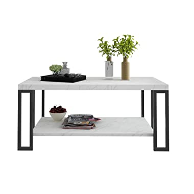Giantex Accent Modern Coffee Tea Table Living Room Tables Faux Marble Top Metal Frame Cocktail Table (39.5''L x20''W x18''H w/Storage Shelf, White)