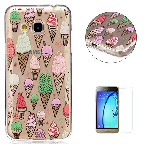 Galaxy J3/J310 Transparent case [with Free Screen Protector],KaseHom TPU Gel Protective Skin Shockproof Soft Rubber Bumper Ice Cream Design Clear Silicone Cover for Samsung Galaxy J3/J310