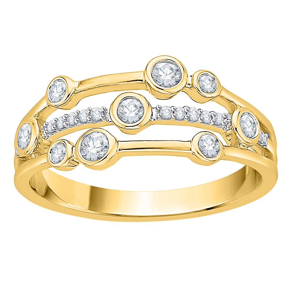 Diamond Fashion Ring in 14K Yellow Gold (1/3 cttw) (JK-Color, SI2/I1-Clarity) (Size-9.75)