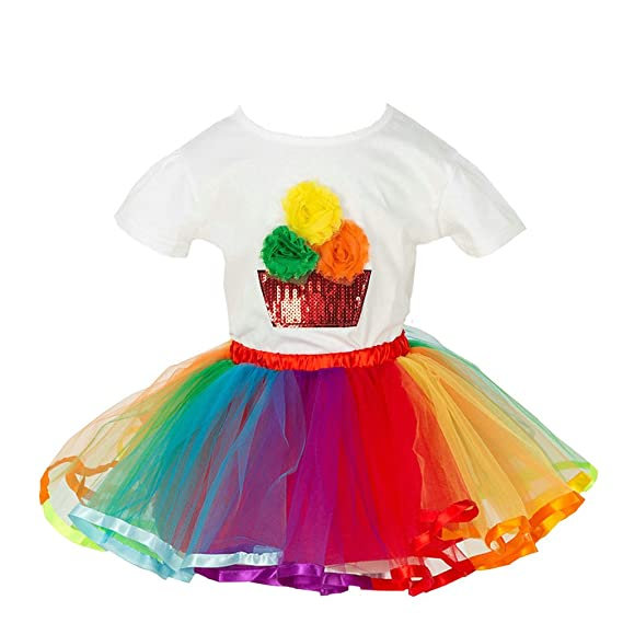 MOLFROA Baby Girls Colorful Layered Dance Outdoor Rainbow Tutu Skirt