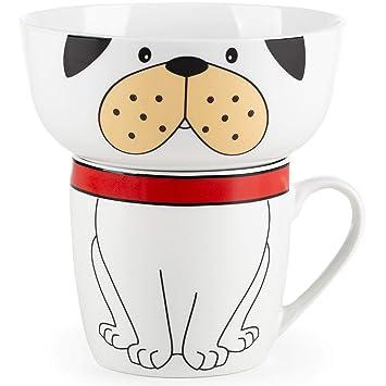 2 Teile Premium Fr/ühst/ücksset f/ür Kinder mit trendigen Tiermotiven Hund Rosmarino Kinder Geschirrset