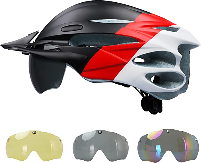 with Rechargeable USB Light Road /& Mountain Bicycle Helmet with Magnetic Goggles 22.83-24.40 Inches Adjustable Size for Men//Women Adult Bike Helmet