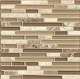 Bedrosians GLSECPLNR-ES ''Eclipse'' Stone Mosaic Linear Blend Tile, 12'' x 12'', Expresso