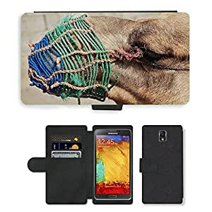 PU LEATHER case coque housse smartphone Flip bag Cover protection // M00111190 Camel Animal Cara Desierto Viajes // Samsung Galaxy Note 3 III N9000 N9002 N9005