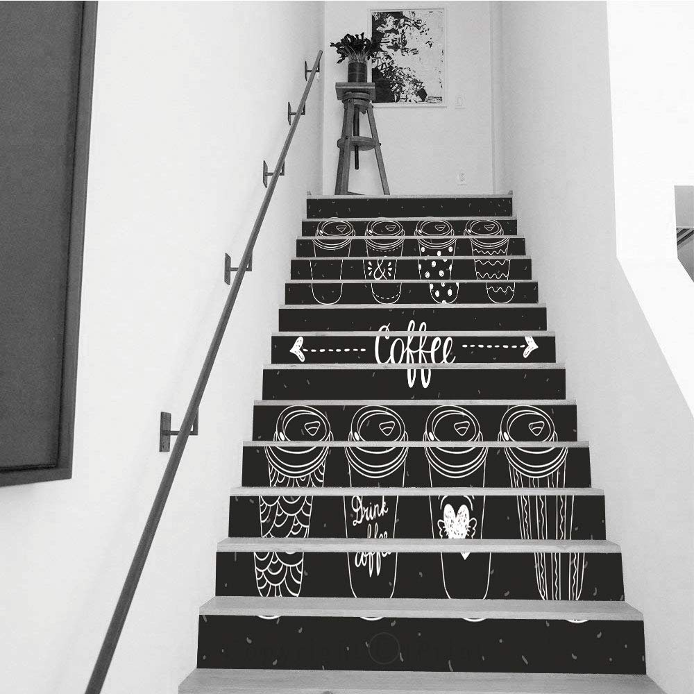 """Stair Stickers Wall Stickers,13 PCS Self-Adhesive,Removable Art Staircase Decals for Stairway or Home Decoration,7.1"""" H x 39.4"""" W Coffee Paper Cups Coffee to go Hand Drawn Vector Set"""