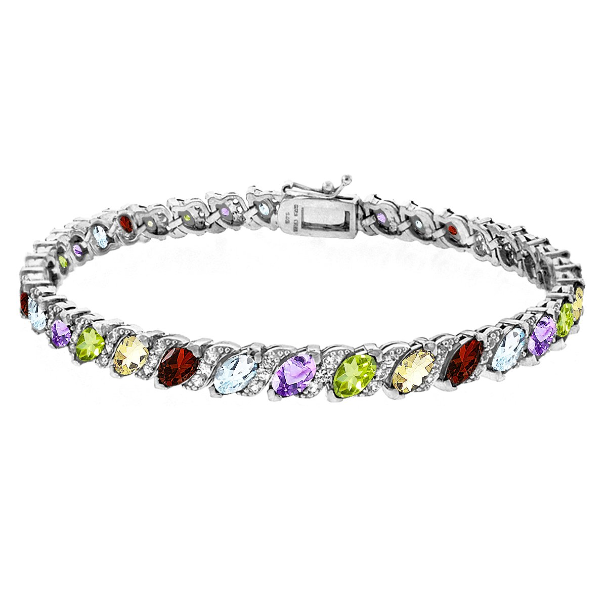 Sterling Silver Multi Color Gemstone Marquise-cut Tennis Bracelet with White Topaz Accents
