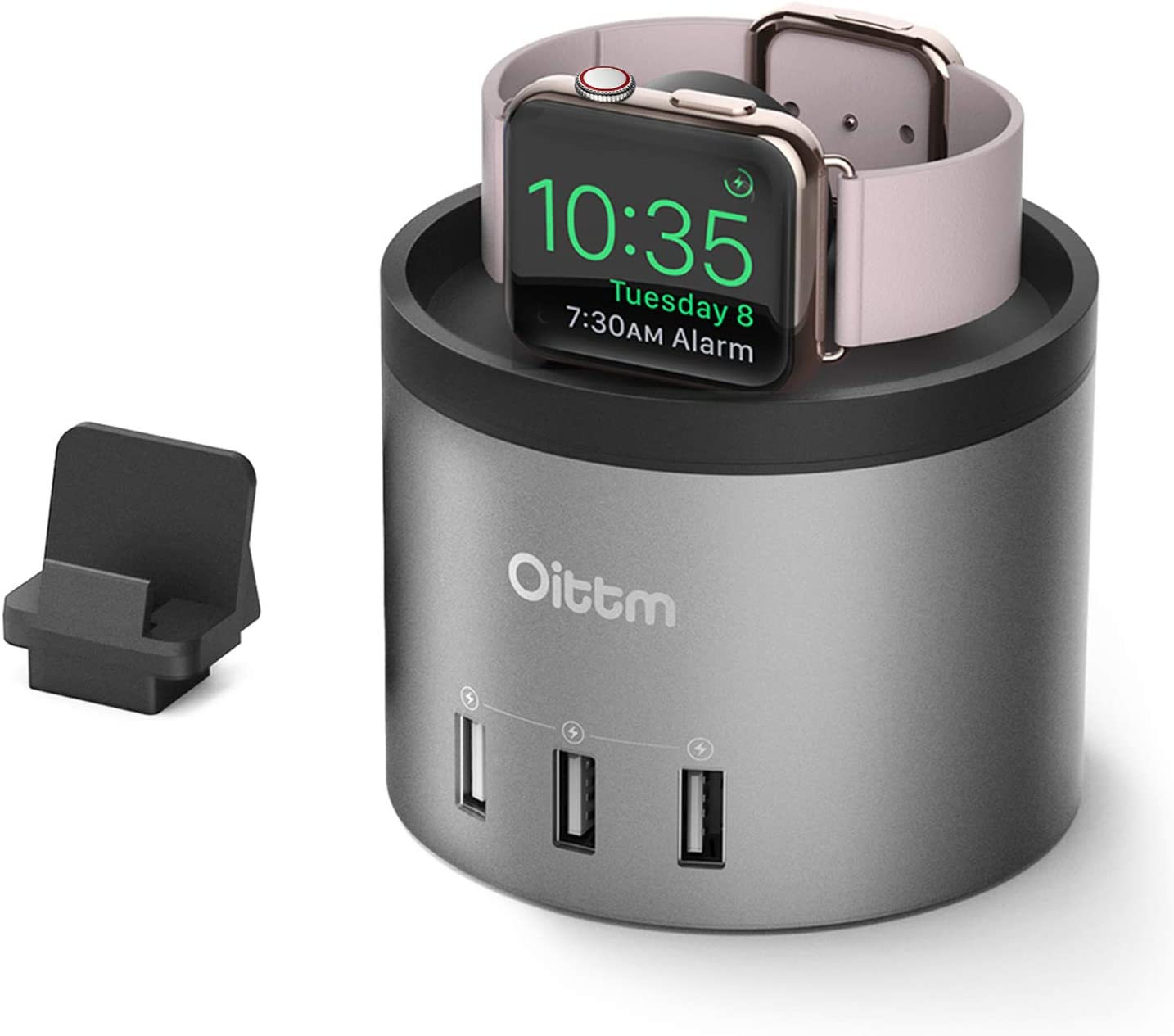 Oittm Charging Stand for Apple Watch Series 4 [2 in 1 Bracket Power Dock] 4-Port USB Charging Station w/Phone Holder for iPhone Xs, Xs Max, Xr, X, 8 Plus, 7, 6 Plus, iWatch 4/3/2/1 (Grey)