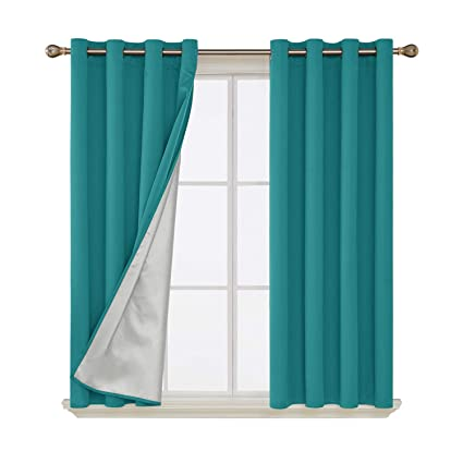Deconovo Grommet Blackout Curtains Thermal Insulated Light Blocking Drapes  with Silver Coated Back for Bedroom 52 by 45 Inch Turquoise/Teal 2 Panels