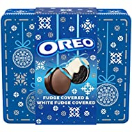 OREO Fudge and White Fudge Covered Chocolate Sandwich Cookies, Original Flavor Creme, Holiday Gift Tin (24 Cookies Total)