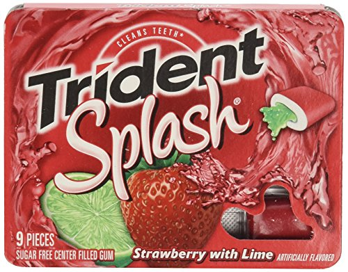 Trident Splash Sugar Free Gum, Strawberry - Lime, 9-Count (Pack of 10) (Splash Free Sugar)