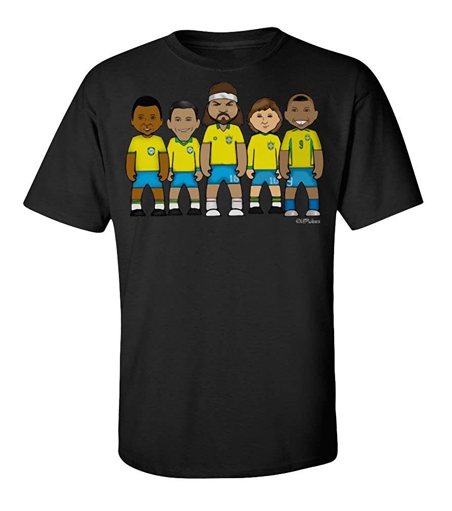 257fbb8c7 VIPWees Brazil football legends mens cult t shirt: Amazon.co.uk: Clothing