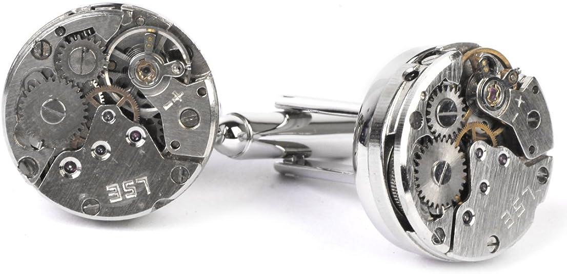 Create idea Lot de 2 boutons de manchette vintage pour homme avec mouvement de montre