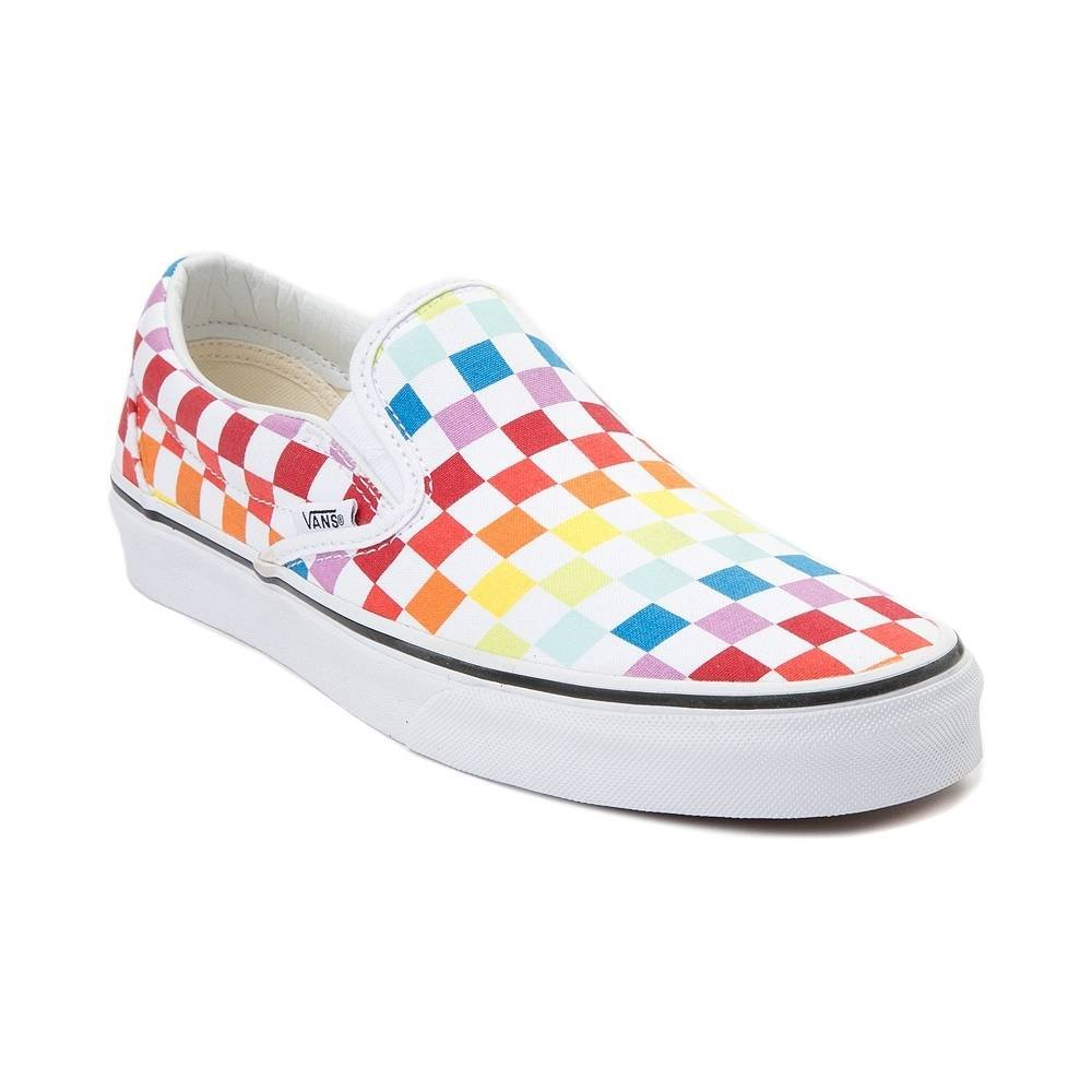 Vans Unisex Old Skool Classic Skate Shoes B078Y88N51 6.5 M US Women / 5 M US Men|(Checkerboard) Rainbow/True White 7267