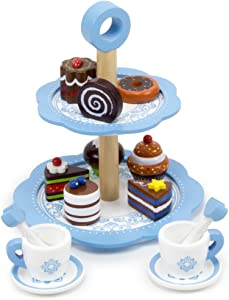 Imagination Generation Tea Time Chocolate Pastry Tower with Two-Tier Classic Blue Dessert Tower, 8 Unique Pastries, and 2 Tea Cups, Saucers and Stirrers
