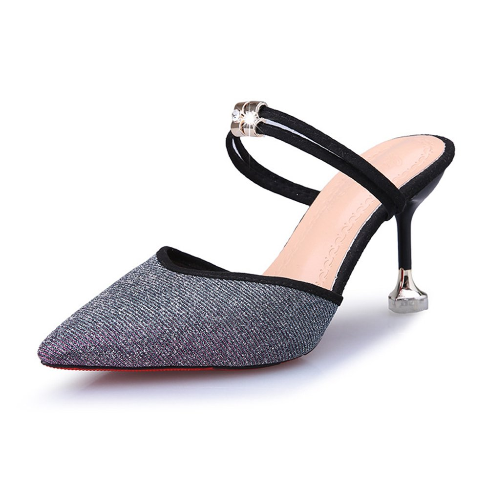 Btrada Women's Sexy Heeled Slide Sandals Pointy Toe Slip On Ankle Strap Kitten Heel Mules Pumps Dress Shoes