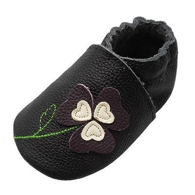 YIHAKIDS Chaussures Bébé - Chaussons Bébé Cuir Souple Premiers Pas Chaussons Semelle Douce - Fleur chanceuse