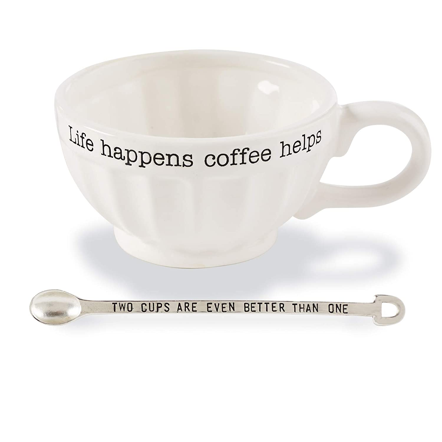 One Size, Mud Pie 43500013S Vintage Inspired Coffe Spoon-Soup of The Day Coffee Mug Set