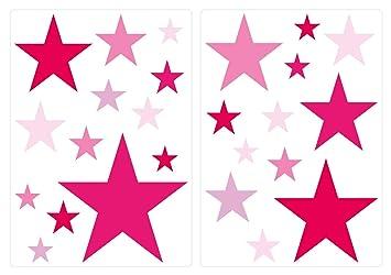 Wandtattoo Kinderzimmer Wandsticker Set Pinke Sterne für Mädchen Zum ...
