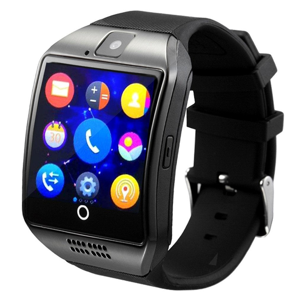 Smart Watch,YOKEYS Touch Screen Bluetooth WristWatch Fitness Watch with Camera SIM Card Slot/ analysis/Sleep Monitoring for Android (Full Functions) and IOS (Partial Functions) Men Women (Q Black)