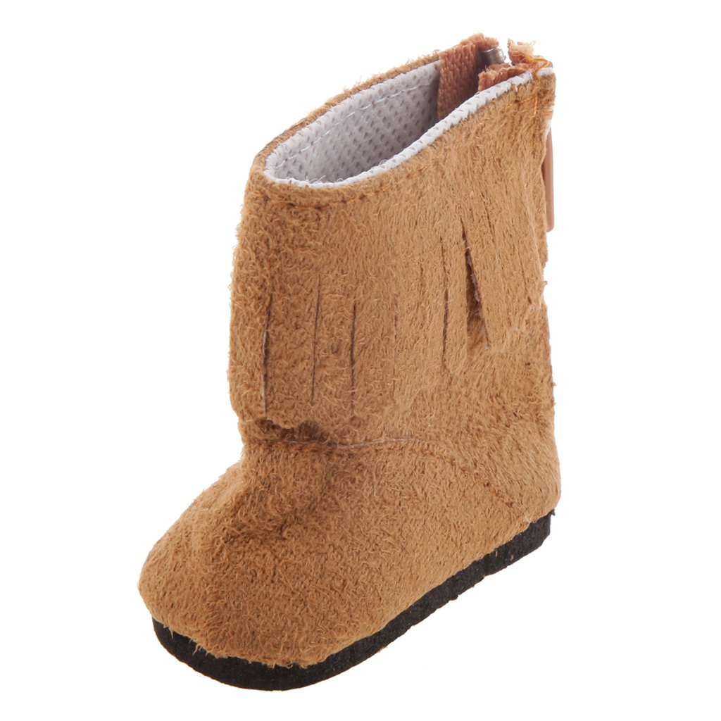 1 Par Zapatos Botas Borlas Marrones para Muñecas de Moda 40cm genérico