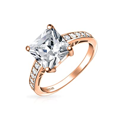 b717ce9eaf3c4 3CT Square Princess Cut Solitaire AAA CZ Engagement Ring Thin Pave Band  Rose Gold Plated 925 Sterling Silver For Women