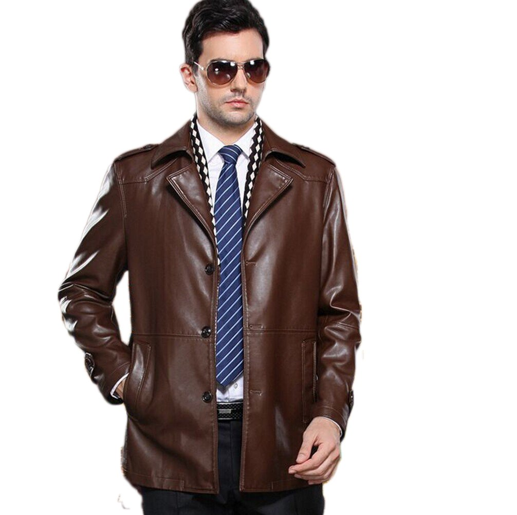 Love Dress Classic Mens Leather Jacket Winter and Spring Warm Coats Light Brown L