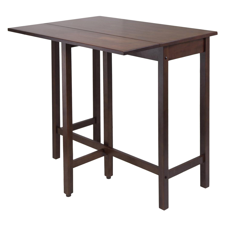 amazoncom winsome wood lynnwood drop leaf high table walnut kitchen u0026  dining