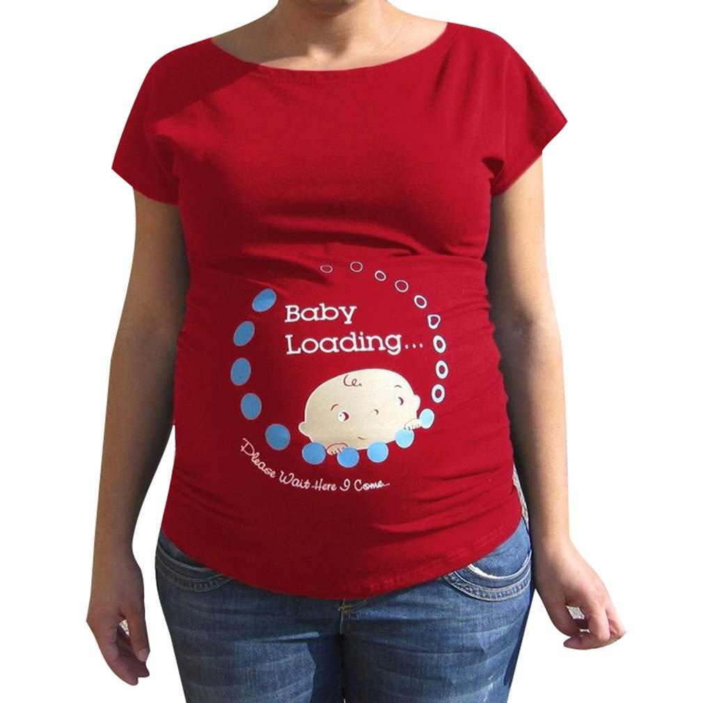 Umstandsmode T-Shirts Baby Loading Druck Kurzarm Top Umstands-Oberteil Schwangere Damen Rundhalsausschnitt Lustiges S/ü/ße Shirt mit Dem Bauch Stretch