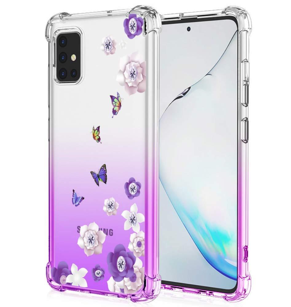 Samsung Galaxy A51 Case Shock Resistant Flexible TPU Rubber Soft Purple Flower  eBay
