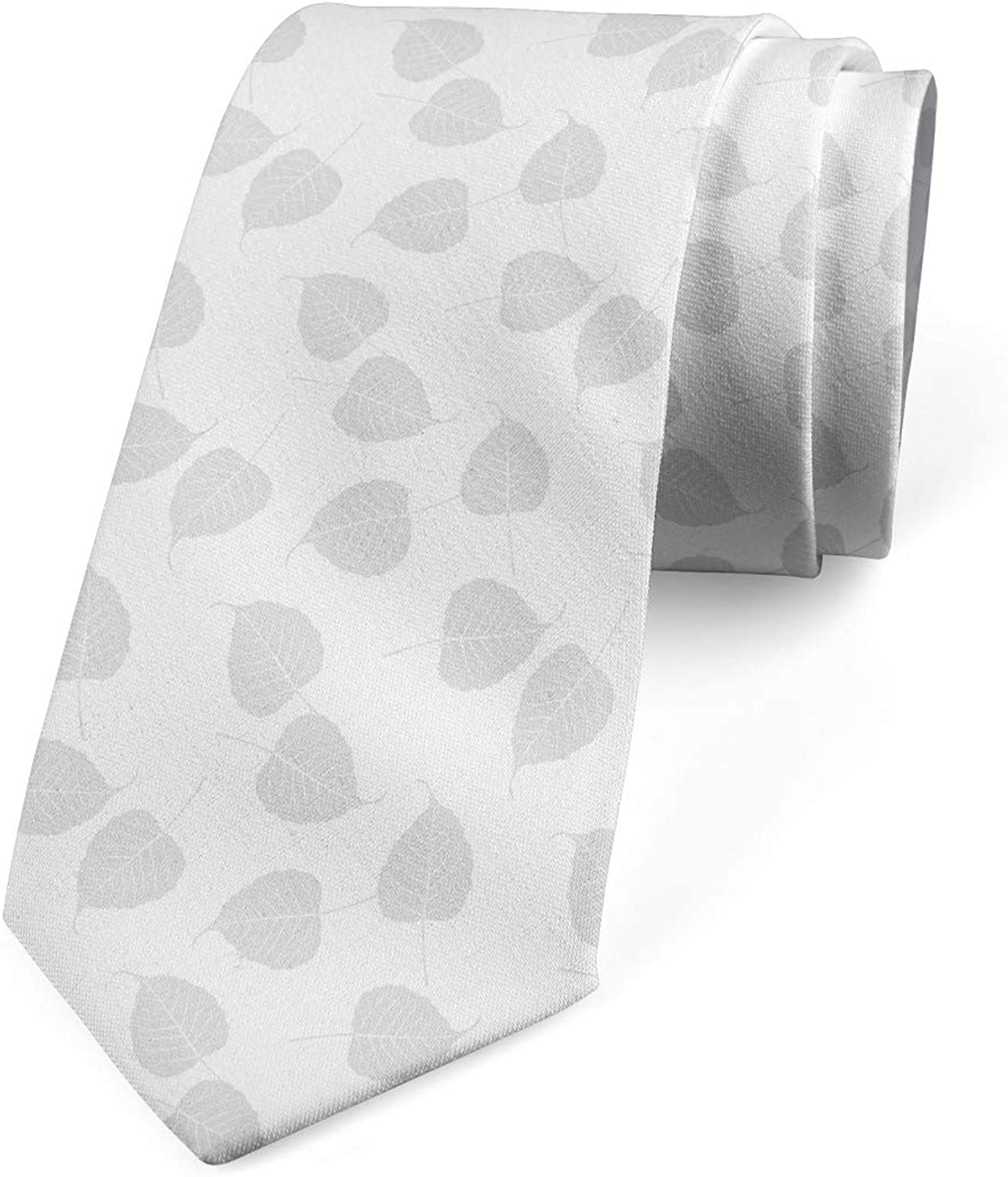 Bo Leaves Greyscale Layout 3.7 Pale Grey and White Ambesonne Necktie
