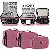 (US) BUBM 3pcs Double Layer Electronic Organizer, Travel Gadgets Bag for Cables, External Flash Drive, Mouse, Memory Card, Power Bank and More, Compact and Multi-purpose, Denim Pink