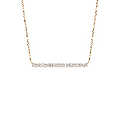 d15488367bc1 Amazon.com  Lab Grown Diamond Horizontal Bar Pendant Necklace in 14k Rose  Gold  Jewelry