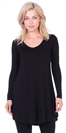 bc01e6ec120 Popana Women's Tunic Tops for Leggings Long Sleeve Shirt Plus Size Made in  USA Small Black