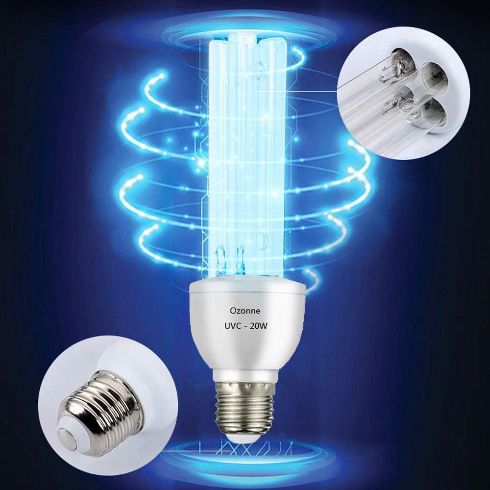 Smart Spring/® UV Keimt/ötende Lampe UVC mit Ozon-Gl/ühbirne E27 20 W 220 V reinigt Luft