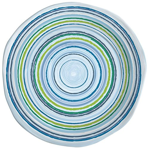 Merritt Mystique Stripe 9-inch Melamine Salad Plate, Marine Blue/Lime, Set of ()