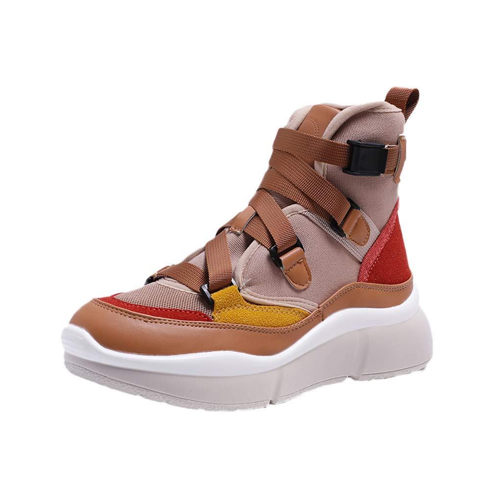 LuckyGirls Zapatos para Mujer Retro Zapatillas de Correr Calzado Deportivo de Running Bambas Zapatillas con Suelas Gruesas con Hebilla