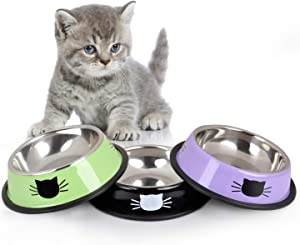 Legendog Cat Bowl Pet Bowl Stainless Steel Cat Food Water Bowl with Non-Slip Rubber Base Small Pet Bowl Cat Feeding Bowls Set of 3 (Green&Black&Purple)