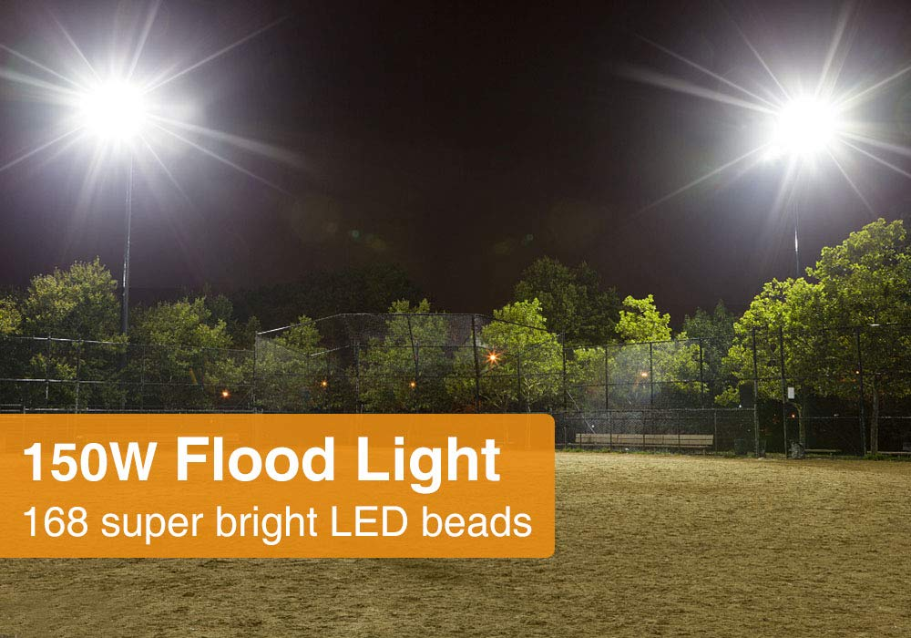 Onforu 2 Pack 150W LED Flood Light, 15,000lm 5000K Daylight White, IP66 Waterproof Super Bright Security Lights, Outdoor Floodlight for Yard, Garden, Playground, Basketball Court by Onforu (Image #4)